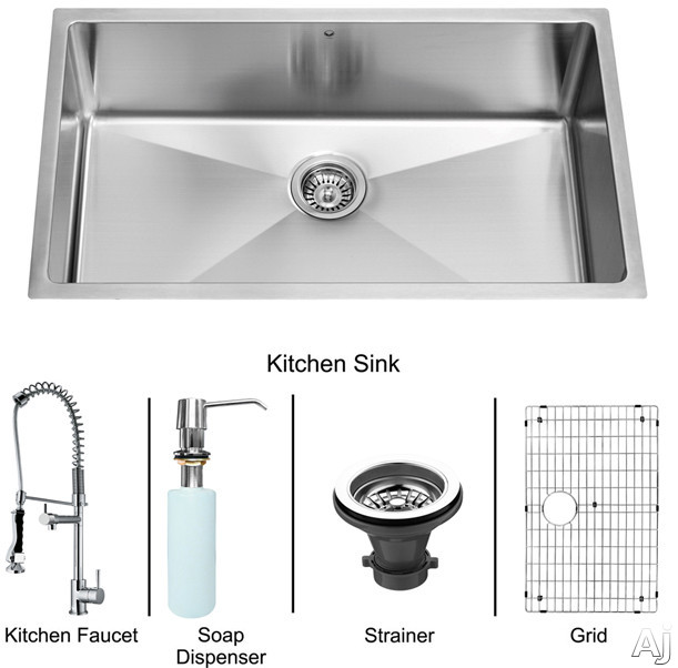 "Vigo Industries VG15164 32"" Undermount Single Bowl Stainless Steel Sink and Chrome Faucet Set with 9, U.S. & Canada VG15164"
