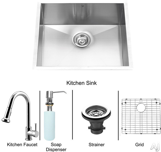 "Vigo Industries VG15169 23"" Undermount Single Bowl Stainless Steel Sink and Chrome Faucet Set with 9, U.S. & Canada VG15169"