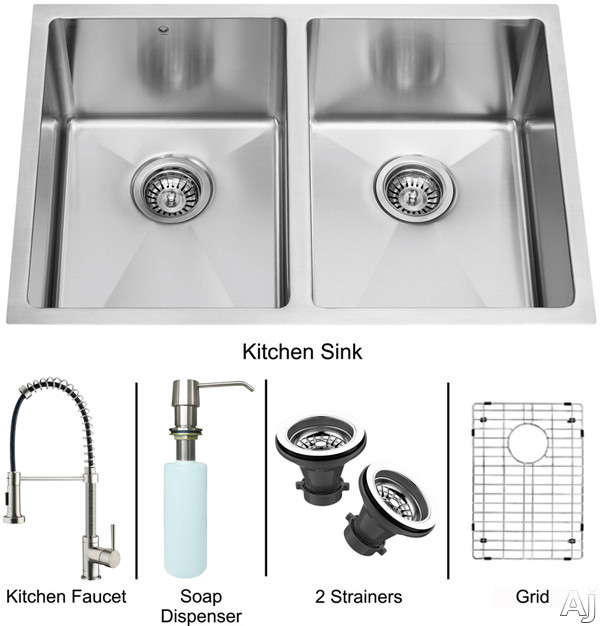 "Vigo Industries VG15185 29"" Undermount Double Bowl Stainless Steel Sink and Faucet Set with 9 7 / 8"", U.S. & Canada VG15185"