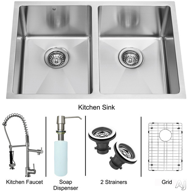 "Vigo Industries VG15189 29"" Undermount Double Bowl Stainless Steel Sink and Faucet Set with 9 7 / 8"", U.S. & Canada VG15189"