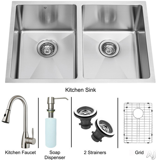 "Vigo Industries VG15191 29"" Undermount Double Bowl Stainless Steel Sink and Faucet Set with 9 7 / 8"", U.S. & Canada VG15191"