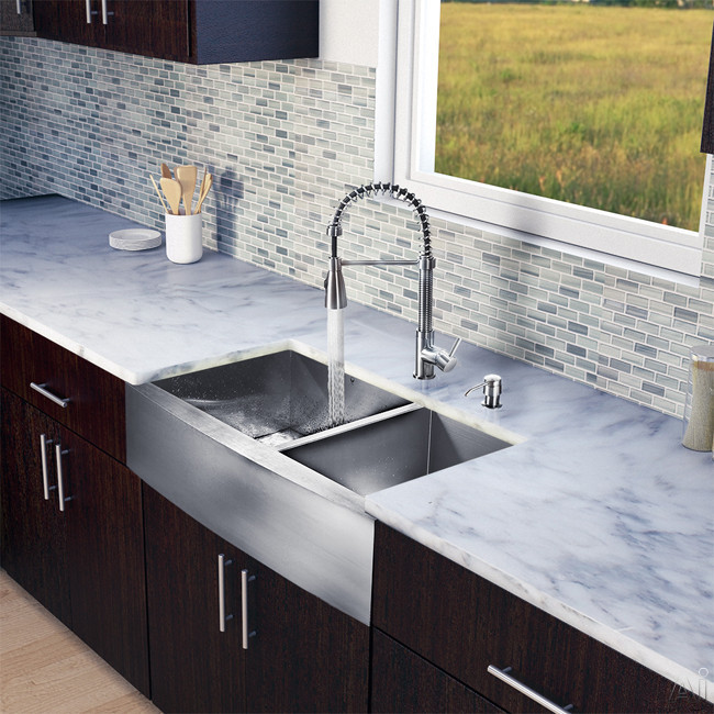 Vigo Industries VG15195 36 Inch Farmhouse Stainless Steel Double Bowl Kitchen Sink with 9 7/8 Inch Bowl Depths, 16-Gauge, Stainless Steel Faucet Set, Bottom Grids, Strainers and Soap Dispenser