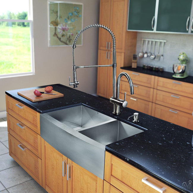 Vigo Industries VG15197 36 Inch Farmhouse Stainless Steel Double Bowl Kitchen Sink with 9 7/8 Inch Bowl Depths, 16-Gauge, Stainless Steel Faucet Set, Bottom Grids, Strainers and Soap Dispenser