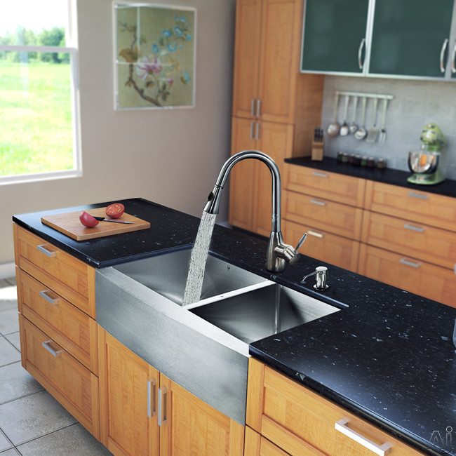 Vigo Industries VG15214 33 Inch Farmhouse Stainless Steel Double Bowl Kitchen Sink with 9 7/8 Inch Bowl Depths, 16-Gauge, Stainless Steel Faucet Set, Bottom Grids, Strainers, Soap Dispenser and ADA Co