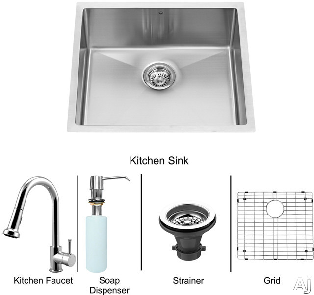 "Vigo Industries VG15218 23"" Undermount Single Bowl Stainless Steel Sink and Chrome Faucet Set with 9, U.S. & Canada VG15218"