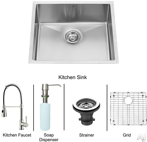 "Vigo Industries VG15219 23"" Undermount Single Bowl Stainless Steel Sink and Faucet Set with 9 7 / 8"", U.S. & Canada VG15219"