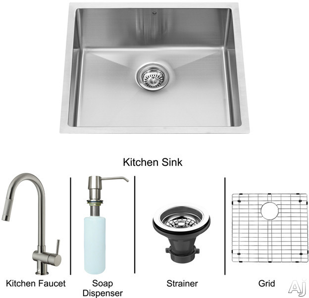 "Vigo Industries VG15220 23"" Undermount Single Bowl Stainless Steel Sink and Faucet Set with 9 7 / 8"", U.S. & Canada VG15220"