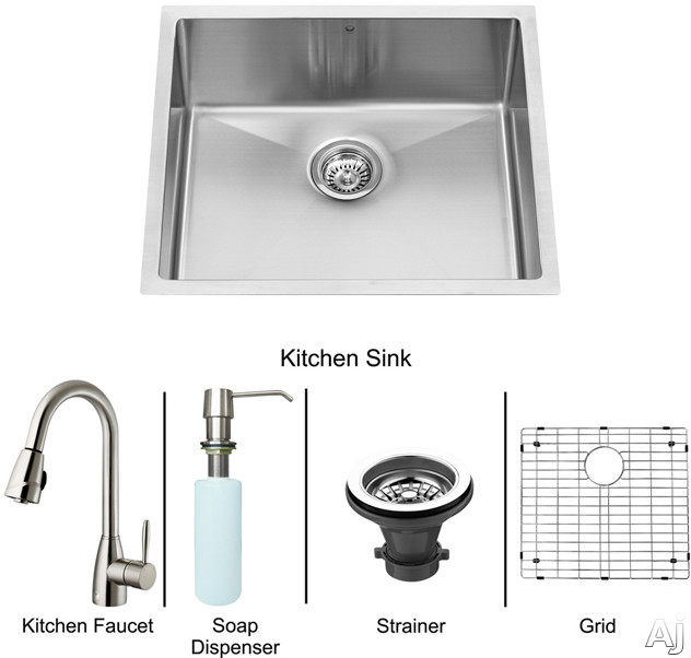 "Vigo Industries VG15224 23"" Undermount Single Bowl Stainless Steel Sink and Faucet Set with 9 7 / 8"", U.S. & Canada VG15224"