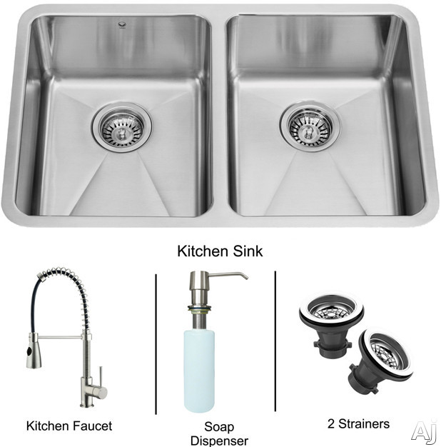 "Vigo Industries VG15229 29"" Undermount Double Bowl Stainless Steel Sink and Faucet Set with 8"" Bowl, U.S. & Canada VG15229"