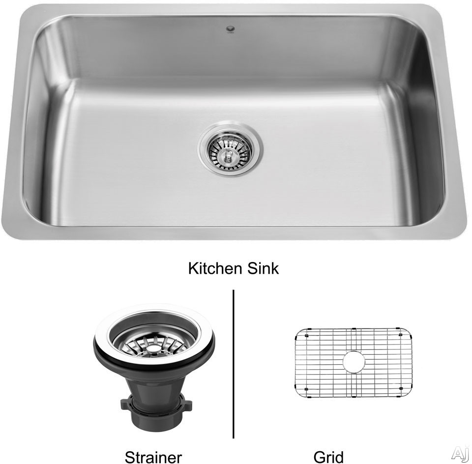 Vigo Industries Kitchen Sink Collection VG3019CK1 30 Inch Undermount Single Bowl Stainless Steel Sink with 9 Inch Bowl Depth 18 Gauge Sound Deadening Insulation and Mounting Hardware Included With Strainer and Grid