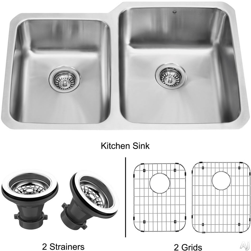 Vigo Industries Kitchen Sink Collection VG3221RK1 32 Inch Undermount Double Bowl Stainless Steel Sink with 9 1 2 Inch Large Bowl Depth 18 Gauge Sound Deadening Insulation and Mounting Hardware Included With Strainers and Grids