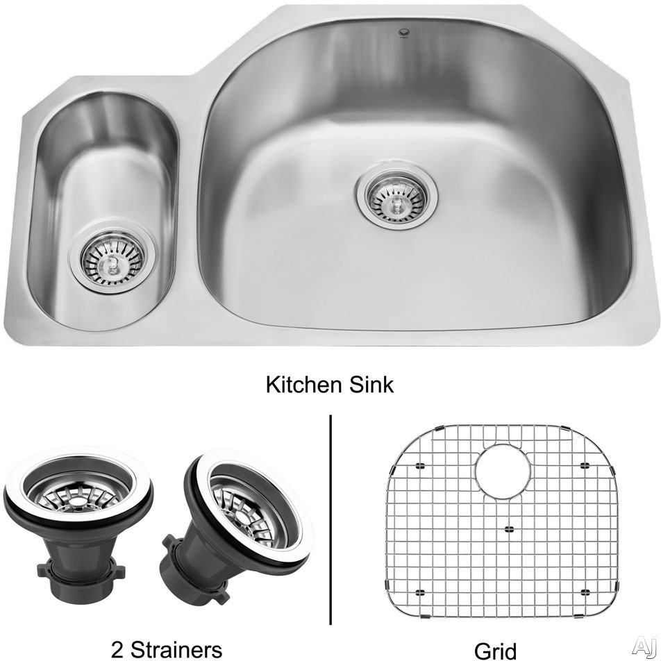 Vigo Industries Kitchen Sink Collection VG3321RK1 32 Inch Undermount Double Bowl Stainless Steel Sink with 9 Inch Large Bowl Depth 18 Gauge Sound Deadening Insulation and Mounting Hardware Included With Strainers and Grid
