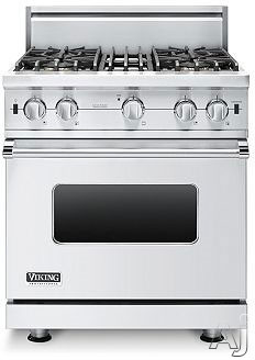 "Viking Professional Custom Series VGCC5304BSS 30"" Pro-Style Gas Range with 4 VSH Pro Sealed Burners, 18,500 TruPower Plus Burner, VariSimmers, ProFlow Convection Oven, Manual Clean and Infrared Broiler: Stainless Steel, Natural Gas"