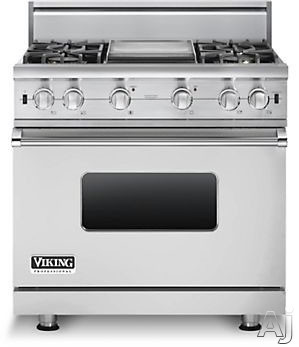 Viking Professional Custom Series VGCC5364GSS 36 Inch Pro-Style Gas Range with 4 VSH Pro Sealed Burners, VariSimmers, ProFlow Convection Oven, Manual Clean, GourmetGlo Infrared Broiler, Star-K Certified and 12 Inch Griddle: Stainless Steel, Natural Gas