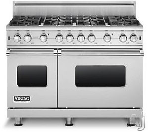 Viking Professional Custom Series VGCC5488BSS 48 Inch Pro-Style Gas Range with 8 VSH Pro Sealed Burners, VariSimmers, 18,500 TruPower Plus Burner, ProFlow Convection Right Oven, Manual Clean and Infrared Broiler: Stainless Steel, Natural Gas