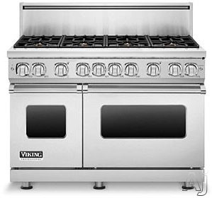 "Viking Professional 7 Series VGR7488BSS 48"" Pro-Style Gas Range with 8 Viking Elevation Sealed Burners, VariSimmers, ProFlow Convection Oven, Manual Clean and Infrared Broiler: Stainless Steel, Natural Gas"