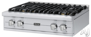 Viking Professional Custom Series VGRT5304B 30 Inch Pro-Style Gas Rangetop with 4 VSH Pro Sealed Burners, VariSimmers, PowerPlus 18,500 BTU Burner, SureSpark Automatic Re-Ignition System and Island Trim Included