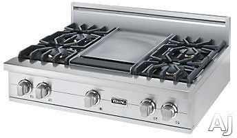 Viking Professional Custom Series VGRT5364GSS 36 Inch Pro-Style Gas Rangetop with 4 VSH Pro Sealed Burners, VariSimmers, 12 Inch Griddle, SureSpark Automatic Re-Ignition System and Stainless Steel Knobs: Natural Gas