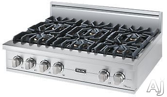 Viking Professional Custom Series VGRT5366B 36 Inch Pro-Style Gas Rangetop with 6 VSH Pro Sealed Burners, VariSimmers, PowerPlus 18,500 BTU Burner, Automatic Re-Ignition System, Stainless Steel Knobs and SureSpark Ignition System
