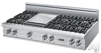 Viking Professional Custom Series VGRT5486G 48 Inch Pro-Style Gas Rangetop with 6 VSH Pro Sealed Burners, VariSimmers, PowerPlus 18,500 BTU Burner, 12 Inch Griddle, Automatic Re-Ignition and Stainless Steel Knobs