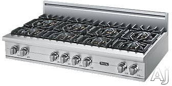 Viking Professional Custom Series VGRT5488B 48 Inch Pro-Style Gas Rangetop with 8 VSH Pro Sealed Burners, VariSimmers, PowerPlus 18,500 BTU Burner, Automatic Re-Ignition System and Stainless Steel Knobs