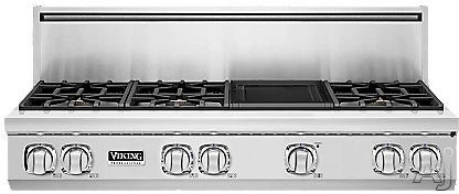 "Viking Professional 7 Series VGRT7486GSS 48"" Pro-Style Gas Rangetop with 6 Viking Elevation Sealed Burners, VariSimmers, 3 Burner Sizes, Brass Flame Ports, SoftLit LED Lights and Reversible Grill/Griddle: Natural Gas"