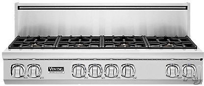 "Viking Professional 7 Series VGRT7488BSS 48"" Pro-Style Gas Rangetop with 8 Viking Elevation Sealed Burners, VariSimmers, 3 Burner Sizes, Brass Flame Ports, SoftLit LED Lights and SureSpark Ignition: Natural Gas"