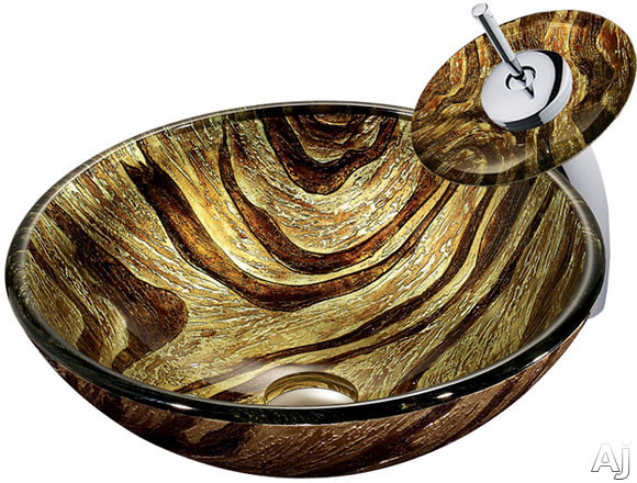 Vigo Industries Vessel Sink Collection VGT028CHRND Single Lever Waterfall Vessel Sink and Faucet, U.S. & Canada VGT028CHRND