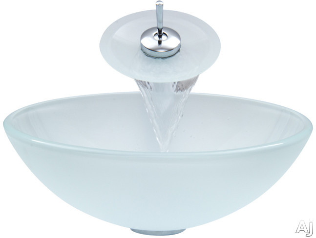 Vigo Industries Vessel Sink Collection VGT036CHRND Single Lever Waterfall Vessel Sink and Faucet, U.S. & Canada VGT036CHRND