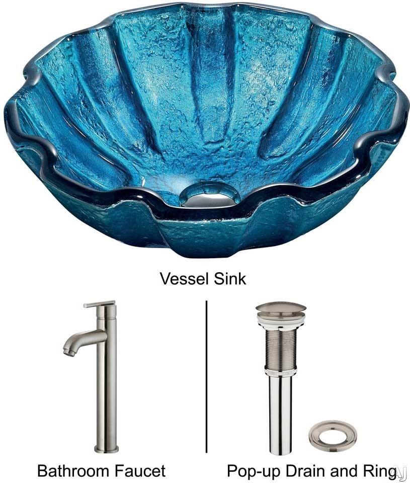 "Vigo Industries Vessel Sink Collection VGT160 Mediterranean Seashell Glass Vessel Sink Set with 6"", U.S. & Canada VGT160"