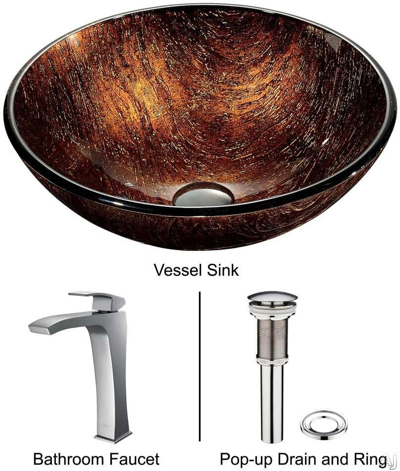 "Vigo Industries Vessel Sink Collection VGT185 Kenyan Twilight Glass Vessel Sink Set with 6"" Bowl, U.S. & Canada VGT185"