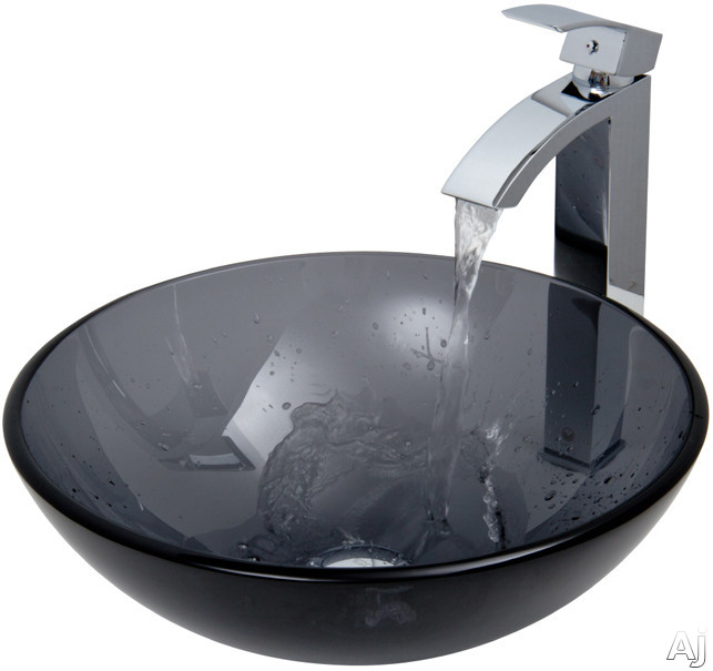 "Vigo Industries Vessel Sink Collection VGT252 Sheer Black Glass Vessel Sink Set with 6"" Bowl Depth, U.S. & Canada VGT252"