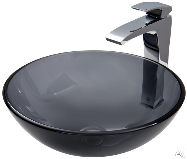 "Vigo Industries Vessel Sink Collection VGT254 Sheer Black Glass Vessel Sink Set with 6"" Bowl Depth, U.S. & Canada VGT254"