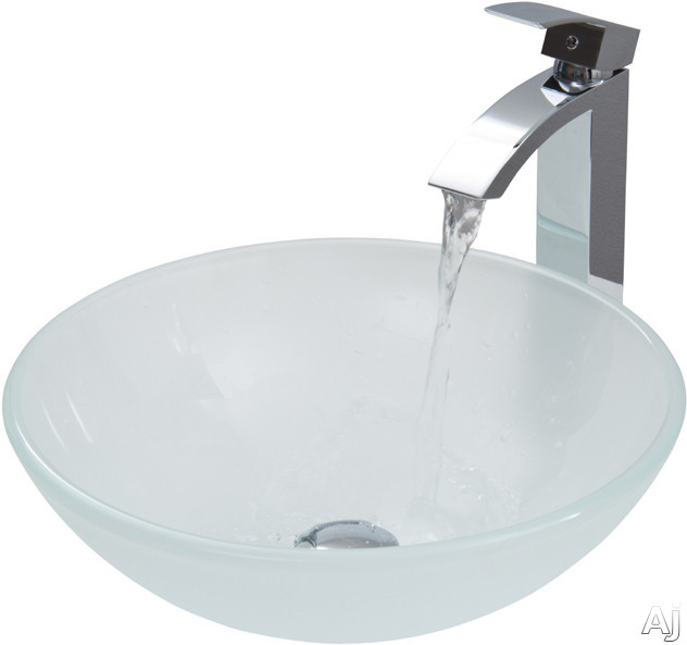 "Vigo Industries Vessel Sink Collection VGT265 White Frost Glass Vessel Sink Set with 6"" Bowl Depth, U.S. & Canada VGT265"