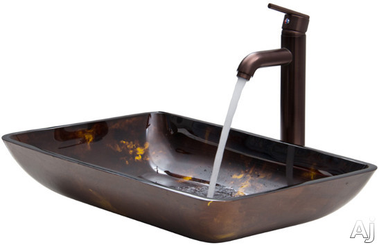 Vigo Industries Vessel Sink Collection VGT276 Rectangular Brown and Gold Fusion Glass Vessel Sink, U.S. & Canada VGT276
