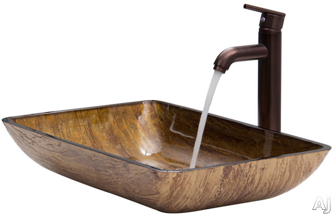 Vigo Industries Vessel Sink Collection VGT292 Rectangular Amber Sunset Glass Vessel Sink Set with, U.S. & Canada VGT292
