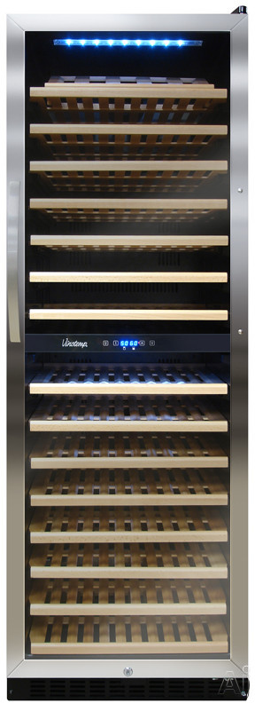 Vinotemp Butler Series VT155SBW 24 Inch Dual Zone Wine Cellar with 155 Bottle Capacity 15 Pull Out Wood Shelves and Blue LED Interior Lighting