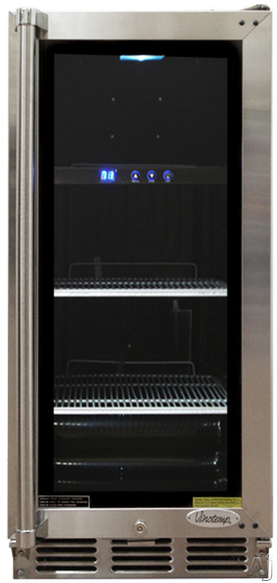 "Vinotemp VT26BCS 15"" Built-in Beverage Cooler with 56-Can Capacity, 2 Coated Metal Shelves, U.S. & Canada VT26BCS"