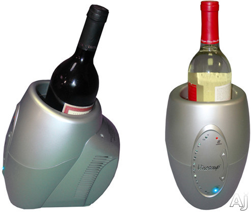 Picture of Vinotemp VTCHILLERSLVR Single Bottle Wine ChillerWarmer with 10 Temperature Selections CPU Controlled Constant Temerature and Easy-to-Read LED Indicator Lights