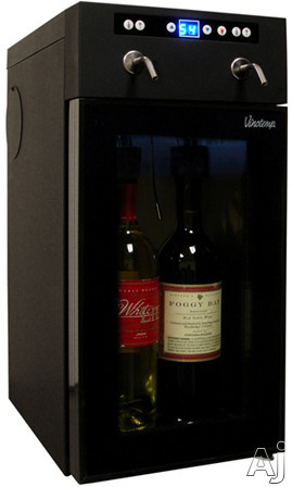 Picture of Vinotemp VTWINEDISP2 9 Inch Wine Dispenser with 2-Bottle Dispenser Interior Lights Digital LED Temperature Display and Glass Door