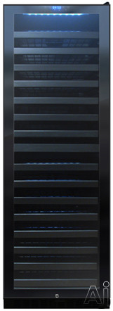 Vinotemp Butler Series VT140TS 24 Inch Dual Zone Wine Cooler with 142 Bottle Capacity 15 Glide Out Metal Shelves Blue Interior LED Lighting Security Lock Key and Digital Temperature Control Right Hinge Door Swing