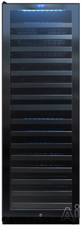 Vinotemp Butler Series VT140TSL 24 Inch Dual Zone Wine Cooler with 142 Bottle Capacity 15 Glide Out Metal Shelves Blue Interior LED Lighting Security Lock Key and Digital Temperature Control Left Hinge Door Swing