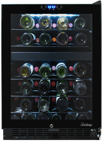 Vinotemp Butler Series VT46TS2Z 24 Inch Undercounter Dual Zone Wine Cooler with 46-Bottle Capacity, Pull-Out Metal Shelves, Interior Light, Door Lock and Touch Screen Controls: Right Hinge Door Swing