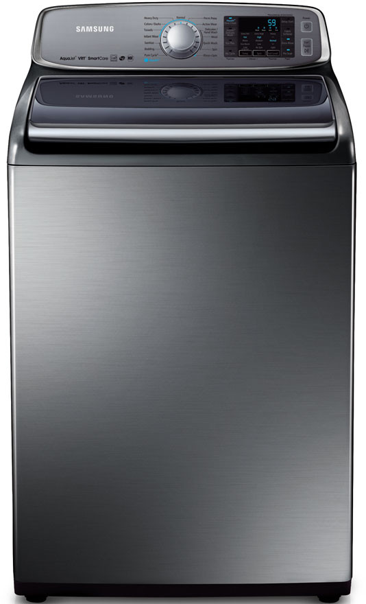 """Samsung WA50F9A8DSP 27"""" Top Load Washer with 5.0 cu. ft. Capacity, VRT, 15 Wash Cycles, PureCycle, U.S. & Canada WA50F9A8DSP"""