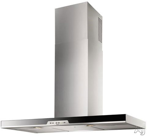 Best Eclisse Series WC34E90SB 36 Inch Wall Mount Chimney Range Hood with Optional External Blowers, 4-Speed Control, Heat Sentry, LED Lights, Delay-Off Timer and Black Glass Front WC34E90SB