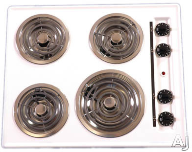 """Summit WEL03 24"""" Electric Cooktop with 4 Coil Elements: White, U.S. & Canada WEL03"""
