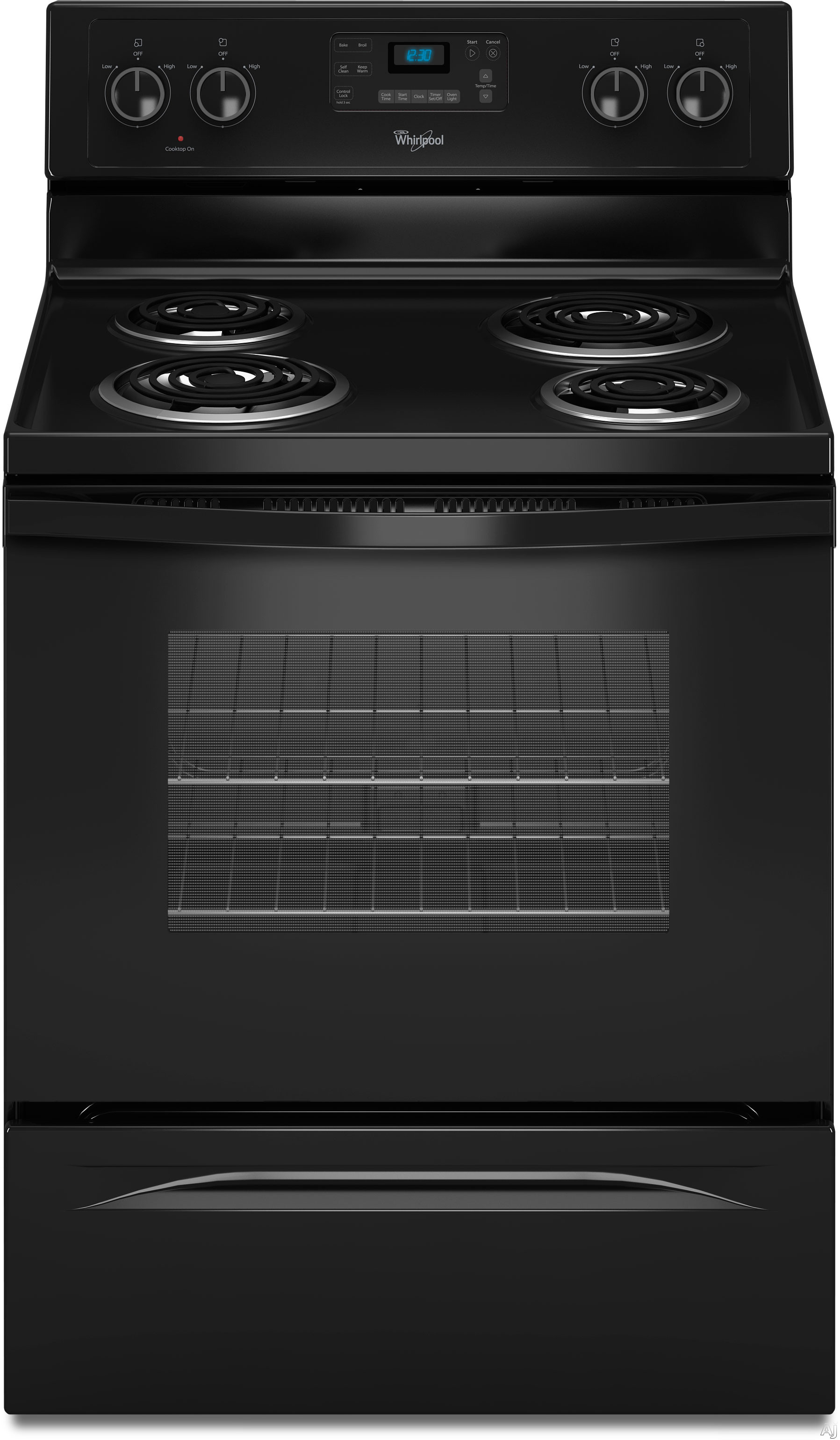 whirlpool wfc310s0ab 30 freestanding electric range with 4 coiled elements 48 cu ft selfcleaning. Black Bedroom Furniture Sets. Home Design Ideas