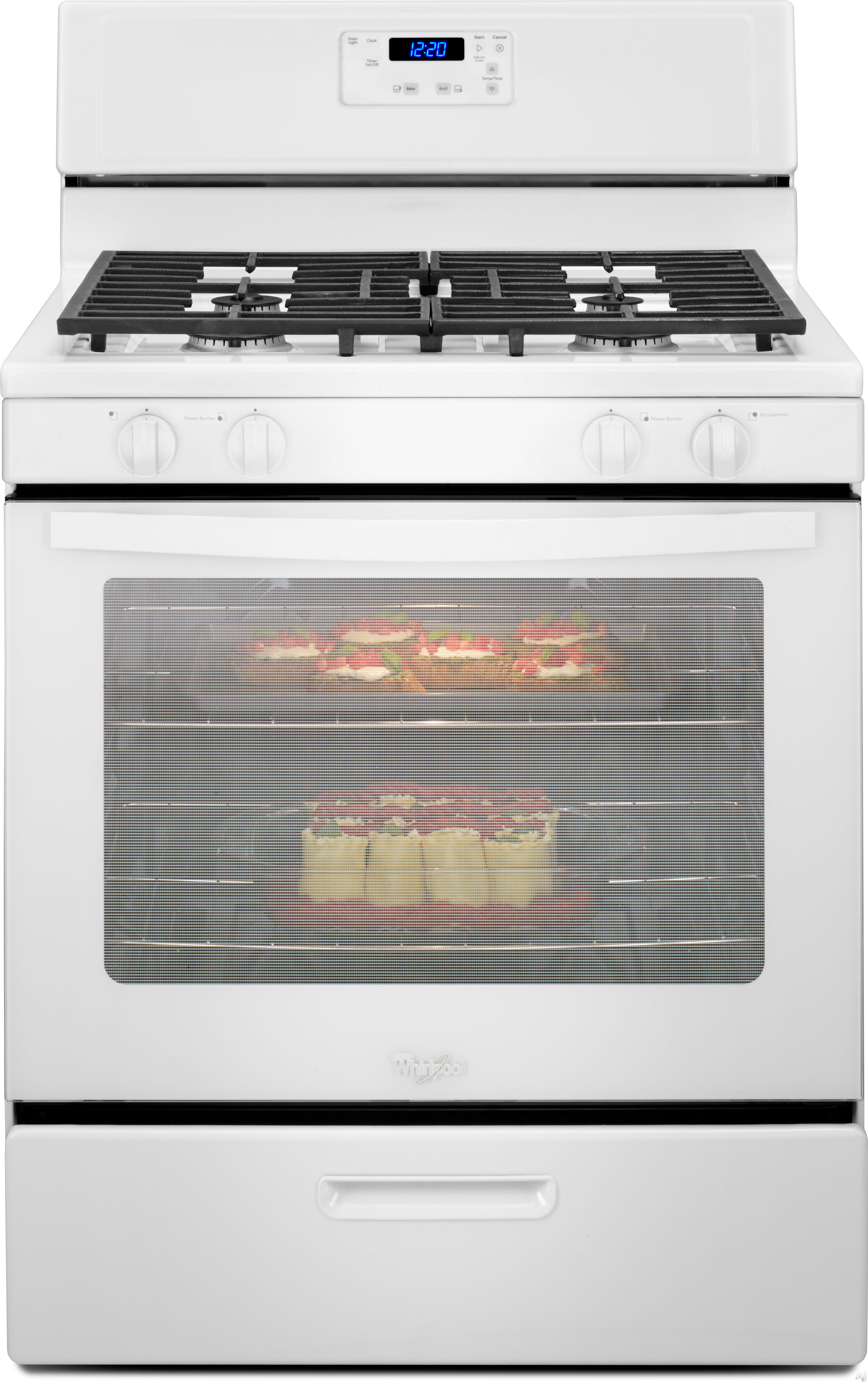 Picture of Whirlpool WFG320M0BW 30 Inch Freestanding Gas Range with 51 cu ft Conventional Oven 4 Sealed Burners Simmer Burner Hidden Bake Element Oven Light and Broiler Drawer White