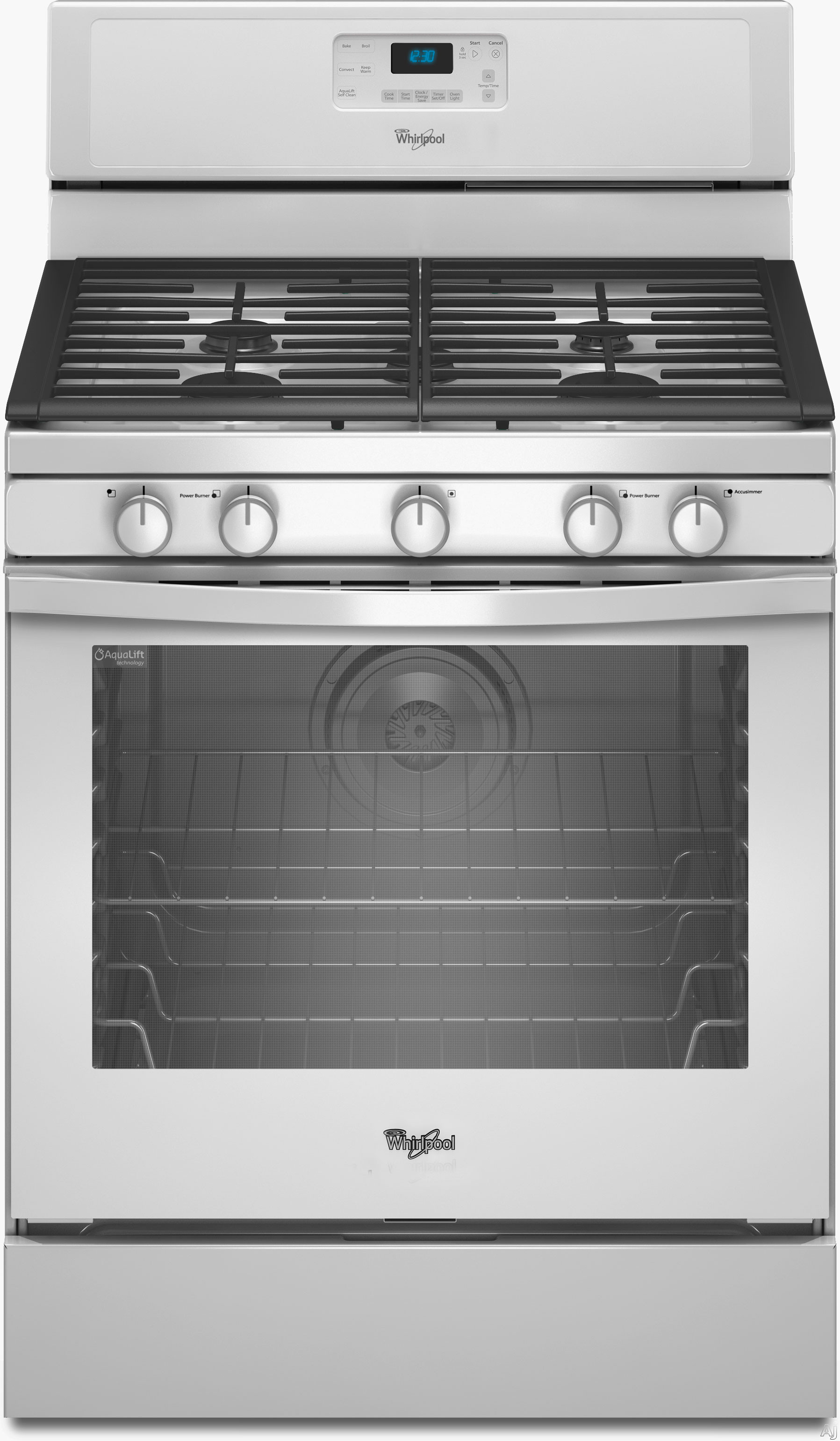 whirlpool wfg540h0aw 30 inch freestanding gas range with 4 sealed burners 5 8 cu ft aqualift. Black Bedroom Furniture Sets. Home Design Ideas