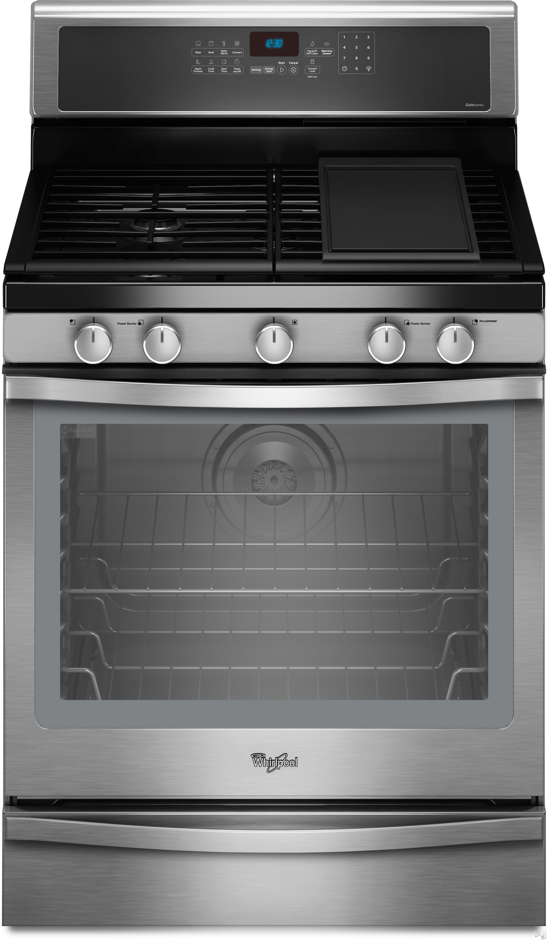 """Whirlpool WFG710H0A 30"""" Freestanding Gas Range with 4 Sealed Burners, 5.8 cu. ft. TimeSavor, U.S. & Canada WFG710H0A"""